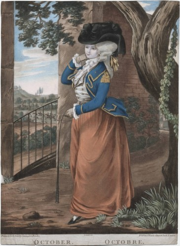 Dighton, Robert, October 1784 - this plate was also published with the outfit in reversed colours, with a red jacket, and a blue skirt