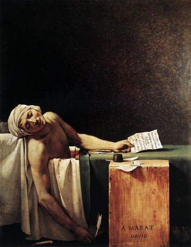 Jacques-Louis David (1748–1825), The Death of Marat, 1793, via Wikimedia Commons