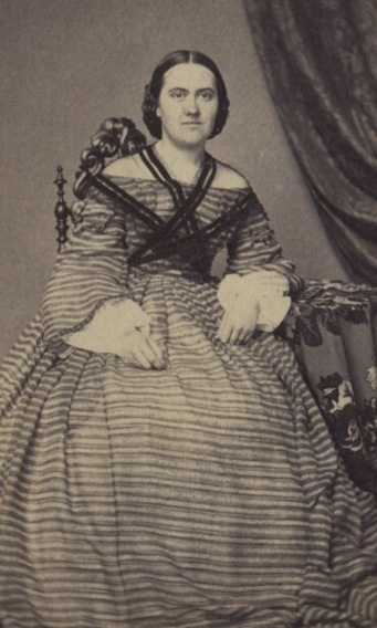 Lady with sheer fichu and striped wide-necked dress, c. mid-19th C.