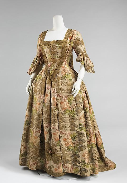 Robe à la Française, 1730–40, European, silk, metal, Metropolitan Museum of Art
