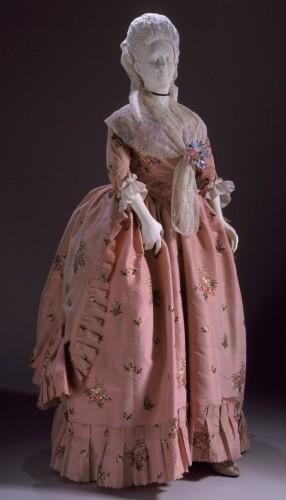 A Robe a la Anglaise worn Polonaised, England, circa 1770-1780, LACMA