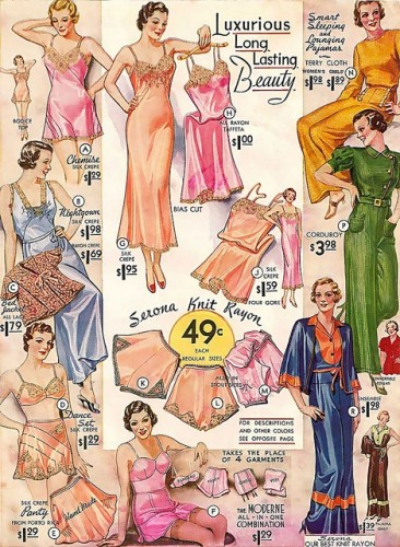 Pyjamas and lingere in rayon, 1934