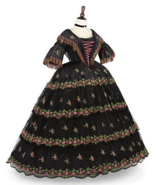 Embroidered black tulle evening gown, 1855-1860. Sold by Christies