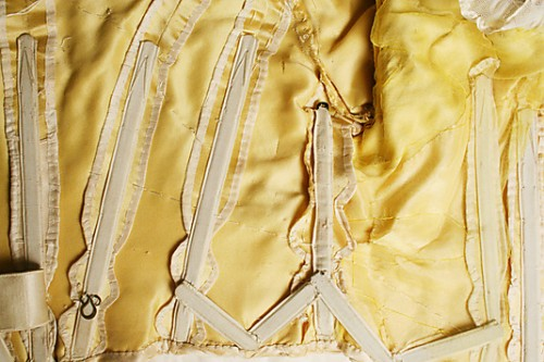 Detail of the interior construction of the bodice of an evening dress by Duval and Eagan  (American), ca. 1889, silk with whalebone, Metropolitan Museum of Art