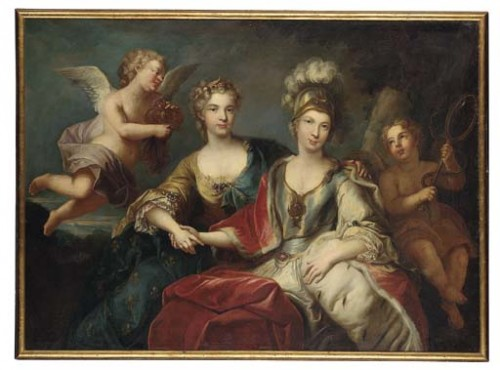 Follower of Michel van Loo, Painting of Marie Leszczyńska, Queen of France and her daughter in law Maria Josepha of Saxony, Dauphine of France, c. 1765