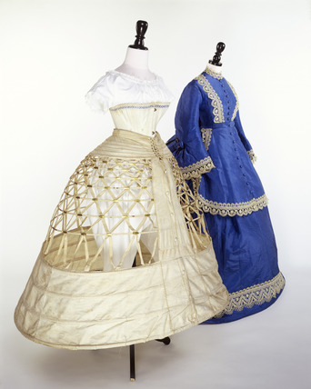 Hoopskirt, corset & wedding dress, mid-1860s, Museum of London