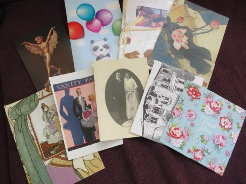 Birthday cards and invitations for ribbon storage