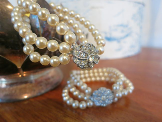 18th century pearl bracelets with diamante clasps