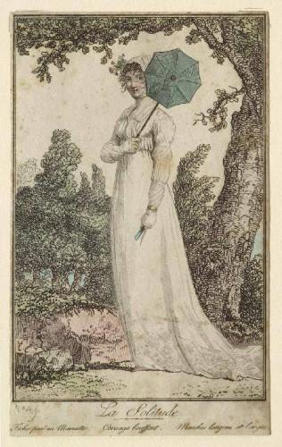 Modes et Manières No. 49 : La Solitude (Fichu posé en Marmotte. Corsage bouffant. Manches longues et larges), Debucourt, Philibert-Louis, 1755-1832, 1801