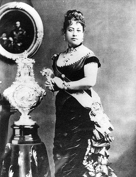 Dowager Queen Emma with the christening cup sent to her son by his godmother, Queen Victoria of England