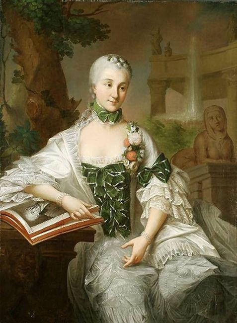 Izabella Poniatowska Branicka by Marcello Bacciarelli, ca. 1757  (Muzeum Narodowe we Wrocławiu - Wrocławia Poland)