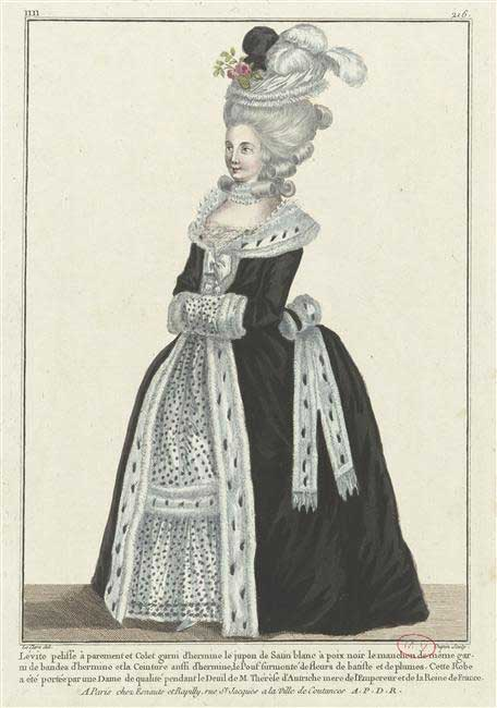 Fashion plate with ermine and ermine-patterned fabric, 1770s