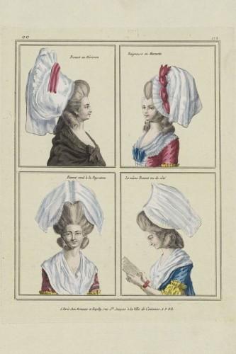 Headdress fashions for 1780: Bonnet au Hérisson; Baigneuse en Marmotte; Bonnet rond à la Paysanne; Le même Bonnet ou de côté.