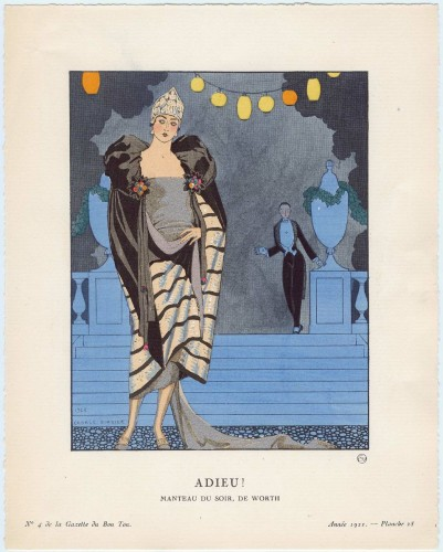 Adieu! - Manteau du soir, de Worth, plate 28 from Gazette du Bon Ton, Volume 1, No. 4 French, April 1921 By George Barbier, MFA Boston