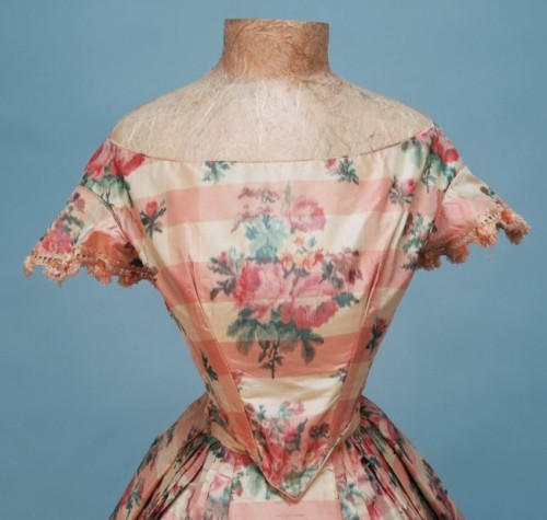 Ball gown, warp printed silk, 1840s, Whitaker Auctions