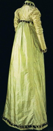 Silk taffeta, line with cotton, British, c. 1807-1810