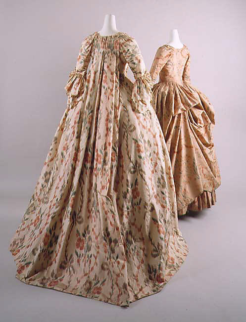 Dress, 1755–65, French, silk, Metropolitan Museum of Art, 50.168.1ab