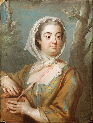 Countess Christina Margareta Törnflycht Augusta, Countess Wrede-Sparre of Sundby (1714-1780) in a marmotte, 1739, Gustaf Lundberg