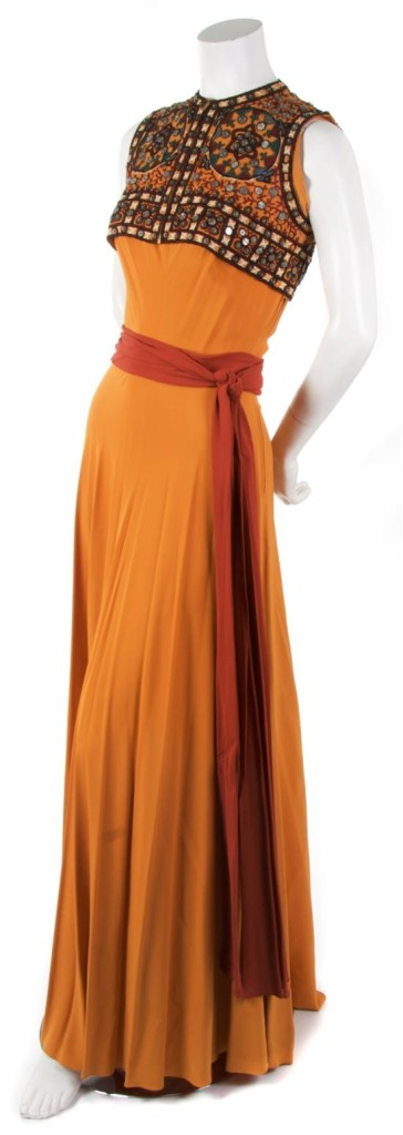 Silk gown with beaded bolero, Germain Monteil, 1930s, sold by Leslie Hindman.com