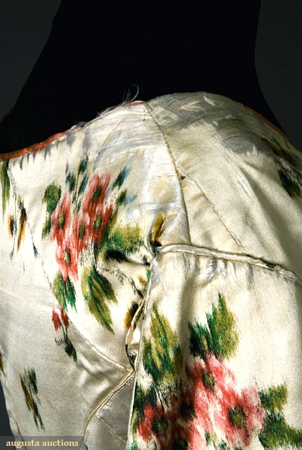 Gown of warp printed silk satin, late 1840s, Augusta Auctions