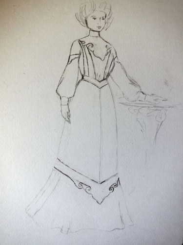 Design sketch for a 1903 chinoiserie inspired promenade dress