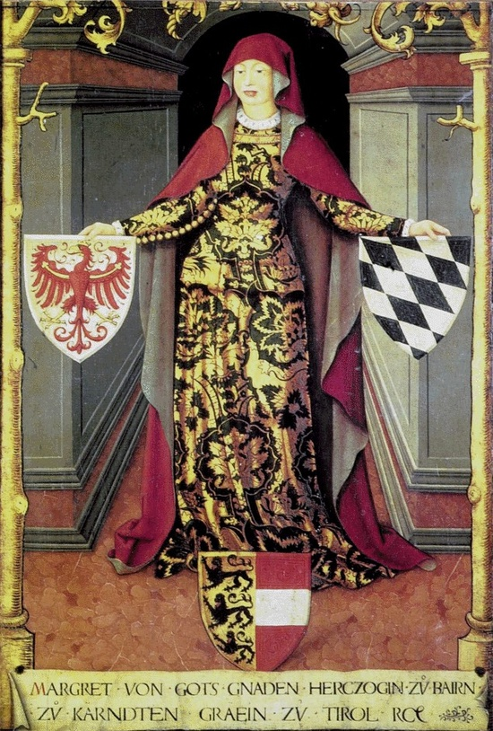 Margarete of Gorizia-Tyrol with Tyrolean, Bavarian and Carinthian coat of arms - oil on canvas, 16th century