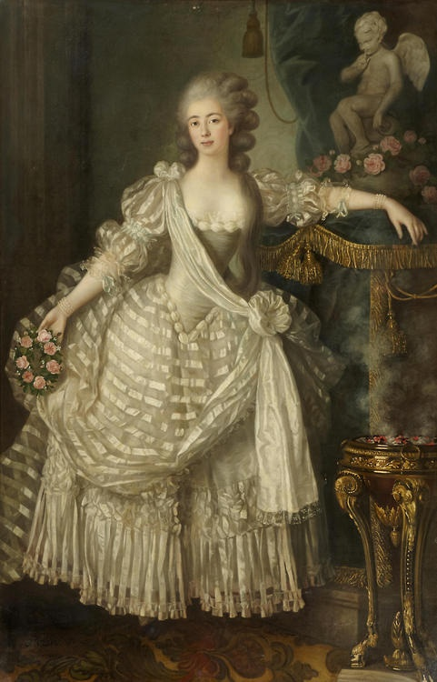 Portrait of a Lady in White, Holding a Crown of Roses in Her Right Hand, Her Left Arm Resting On an Altar to Love, 1776, by Lié Louis Périn-Salbreux (French, 1753-1817)