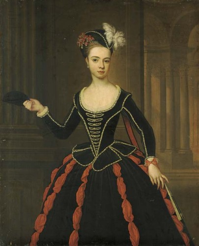 Portrait of the Hon. Mrs William Townshend in masquerade dress by Thomas Gibson. Christies