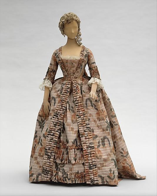 Robe à la Française, 1760–70, French, silk, Metropolitan Museum of Art C.I.60.40.2