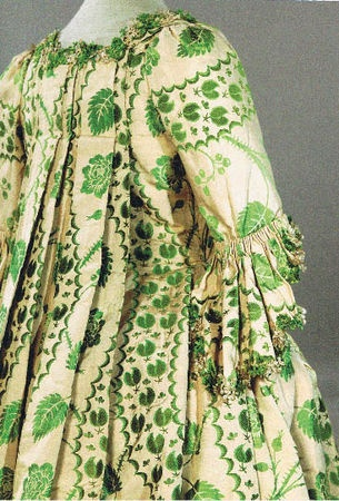 Robe a la Francaise (detail), 1755-60. Silk damask brocade with silk trimmings.