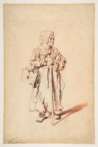 Standing Savoyarde with a Marmot Box Antoine Watteau  (French, Valenciennes 1684–1721 Nogent-sur-Marne), ca. 1715, Met