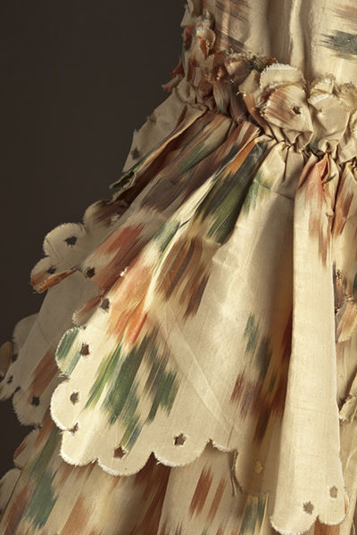 Robe à la Francaise (detail), French, 1760s, chiné silk, LACMA