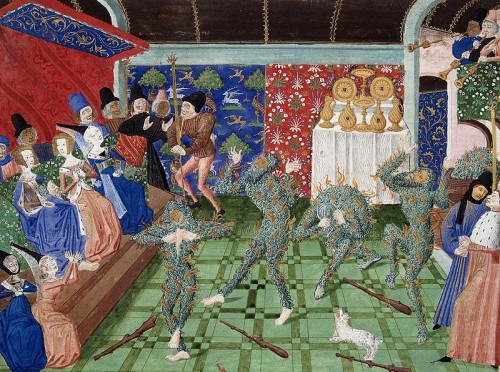 The Bal des Ardents depicted in a ca. 1470 miniature from Froissart's Chronicles