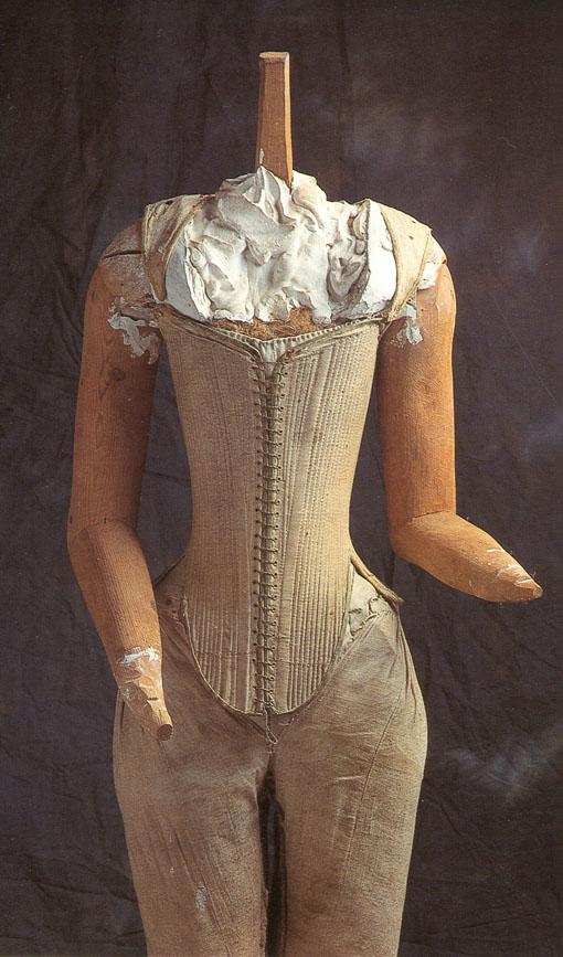 Extant stays (Queen Elizabeth's effigy 'pair o bodies') ca. 1603