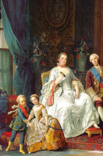 Philippe de Bourbon, duke of Parma with his family (détail of his wife Louise-Elisabeth de France), G. Baldrighi about 1755, Galleria Nazionale, Parma