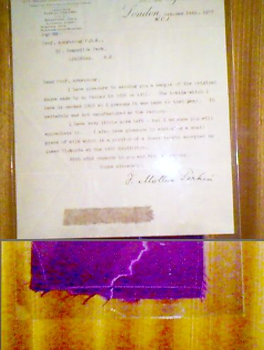 A sample of silk dyed with Perkins original mauveine dye, along with a letter from his son, via Wikipedia
