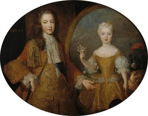 Alexis Simon Belle (1674–1734) , Portrait of Louis XV as a child pointing to a portrait of his fiancée the Infanta Mariana Victoria of Spain, circa 1723