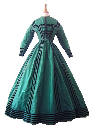 Afternoon Gown with Jacket, aniline green dyed silk, 1860s Antique Textile