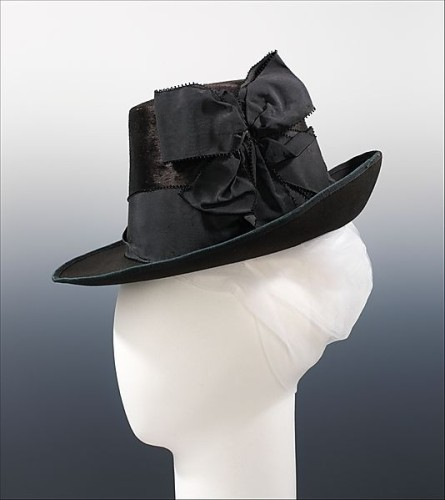 Hat Mme. Mantel  (French) Date- ca. 1885 Culture- French Medium- fur, wool, silk, Metropolitan Museum of Art