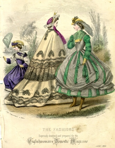 Fashion plate featuring a girls dress in mauveine, a ladies bonnet with magenta ribbons, and a walking dress in aniline green, English Woman's Domestic Magazine, June 1864