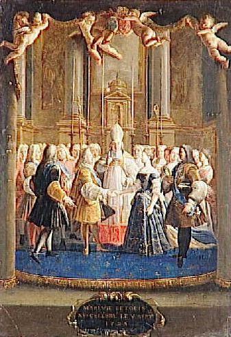 Le Mariage de Louis XV et de Marie Lecszinka dans la chapelle de Fontainebleau le 5 septembre 1725 Marie wears a blue robe de cour