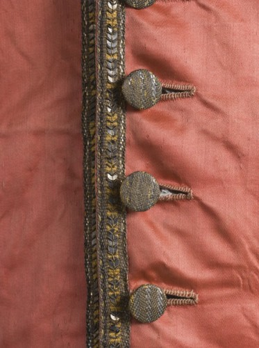 Man's Three-piece Suit (detail of suit worn with coral vest) Italy, probably Venice, circa 1785-1790, LACMA