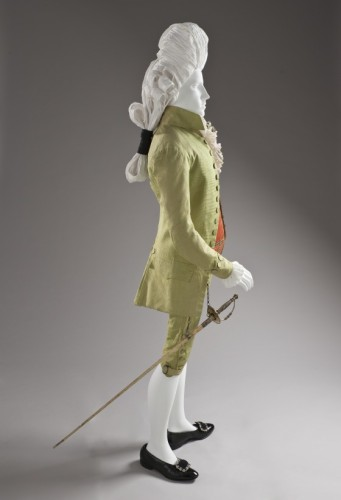 Man's Three-piece Suit Italy, probably Venice, circa 1785-1790, silk, shown with coral waistcoat, LACMA