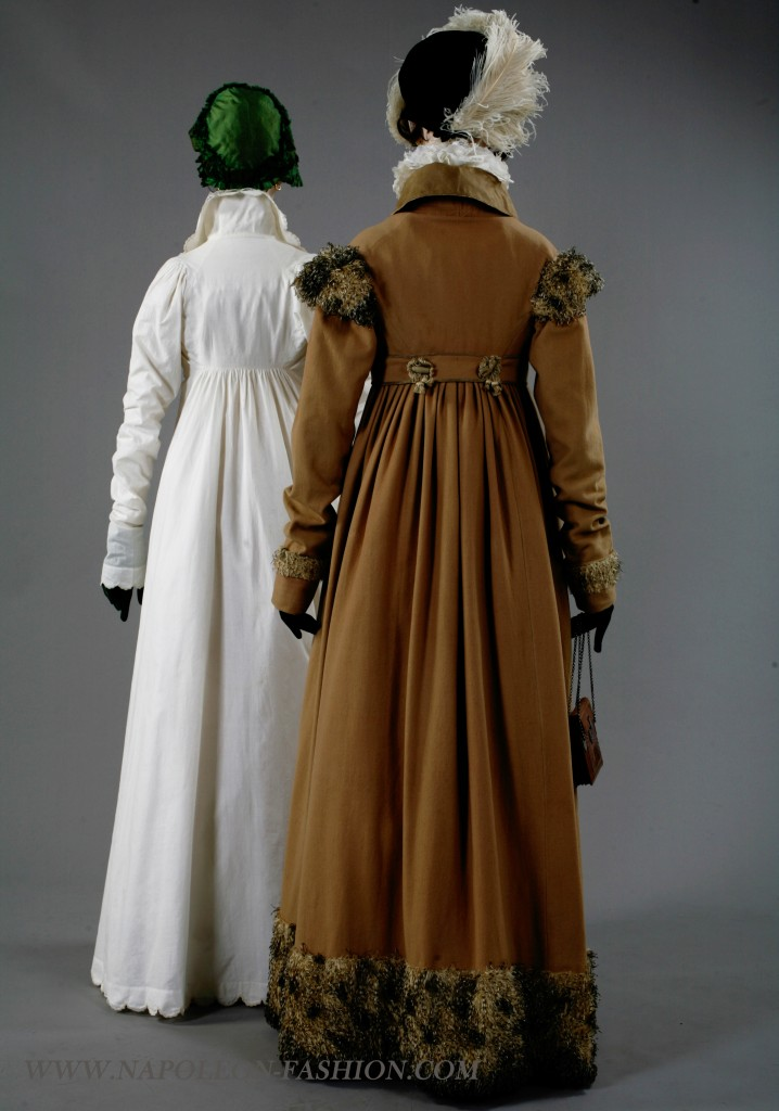 Redingote of camel wool, with collar, buttons and piping of silk organza, and feather trim, circa 1808, Lancaster-Barreto collection