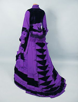 Reception Gown dyed with aniline purple & aniline black, 1870s, Whittaker auctions
