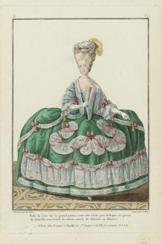 Robe de Cour sur le grand panier, cette robe est de gros de Naples et garnie de dentelle entrelassée de rubans noués de distance en distance, Gallerie des Modes, 1778; MFA 44.1354