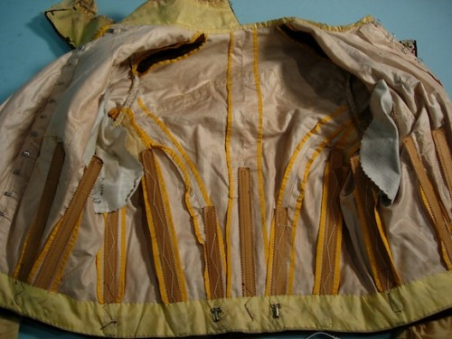 Bodice of Yellow Silk Crepe and Brown Velvet with Embroidery, 1897-8, Antique Textile