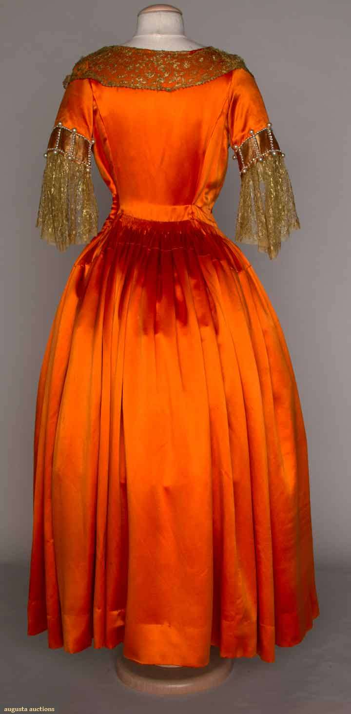 Fancy dress, silk satin with gold lace, 1920s, Lanvin, Augusta Auctions, November 14, 2012
