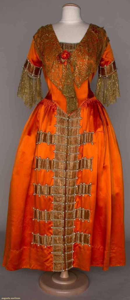 Fancy dress, silk satin with gold lace, Lanvin, Augusta Auctions, November 14, 2012