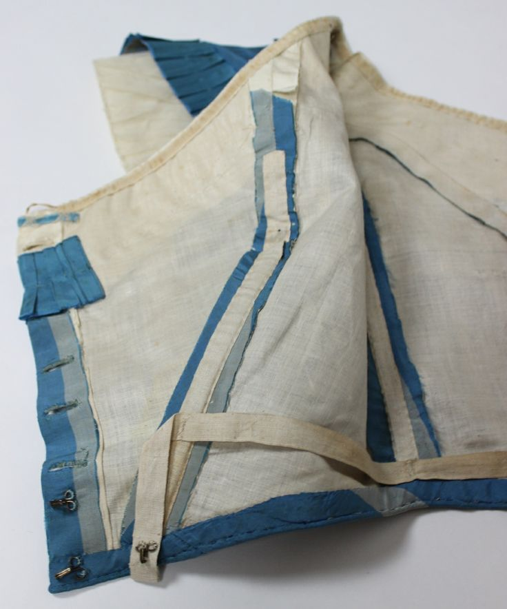 Dress of French Blue with Wide Gray Stripes Silk Taffeta with Two Bodices C 1860, via eBay